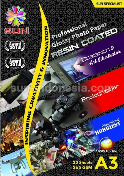 SUN PROFESSIONAL GLOSSY PHOTO PAPER 265 GSM A3 (RESIN COATED)