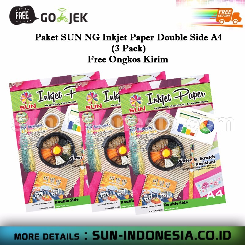 SUN Next Generation Inkjet Paper Double Side A4 - 3 Pack (Free Ongkir)