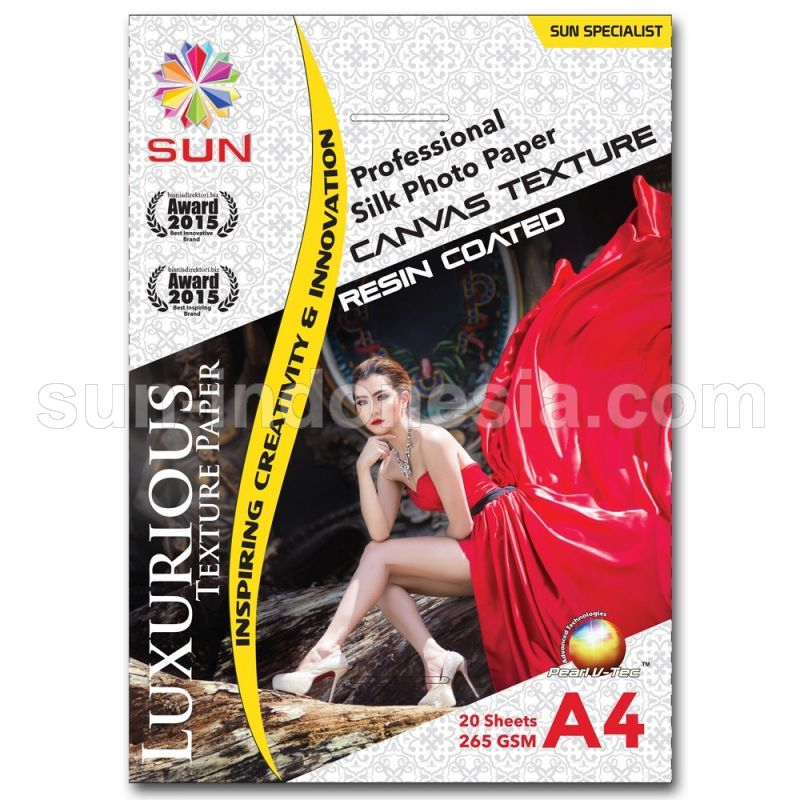 SUN PROFESSIONAL SILK PHOTO PAPER 265 GSM A4 - CANVAS TEXTURE