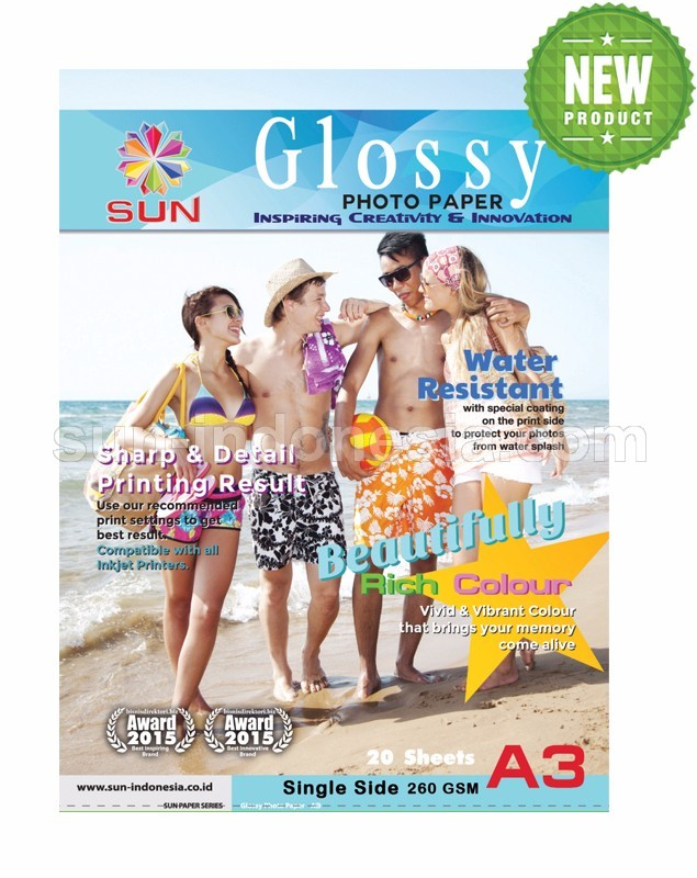 SUN NEXT GENERATION GLOSSY PHOTO PAPER A3 260 Gsm - SINGLE SIDE