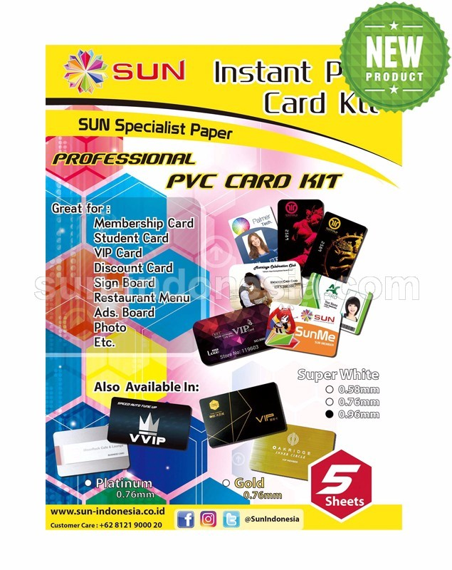 SUN PVC ID Card A4 Super White 0,96 - Isi 5 Set