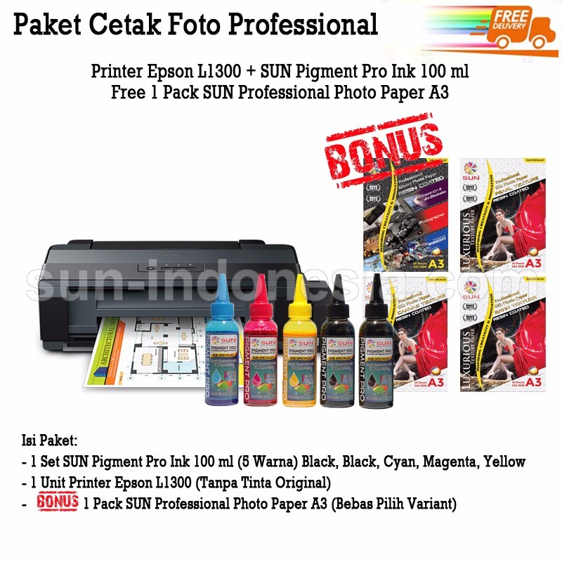 PRINTER EPSON L1300 TINTA SUN PIGMENT PRO 100 ML BONUS PROFESSIONAL PHOTO PAPER A3