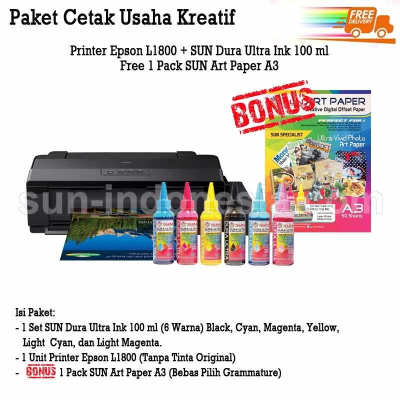PRINTER EPSON L1800 TINTA SUN DURA ULTRA 100 ML BONUS ART PAPER A3