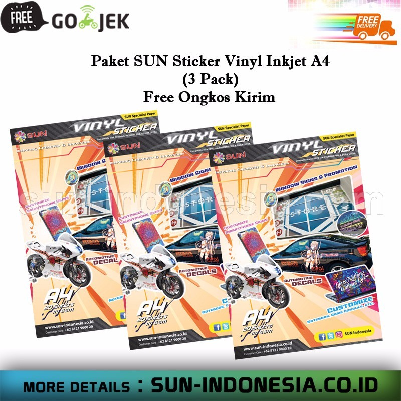 All Product SUN » SUN Sticker Vinyl Inkjet A4 - 3 Pack - Free Ongkos Kirim • www.sun-indonesia.com