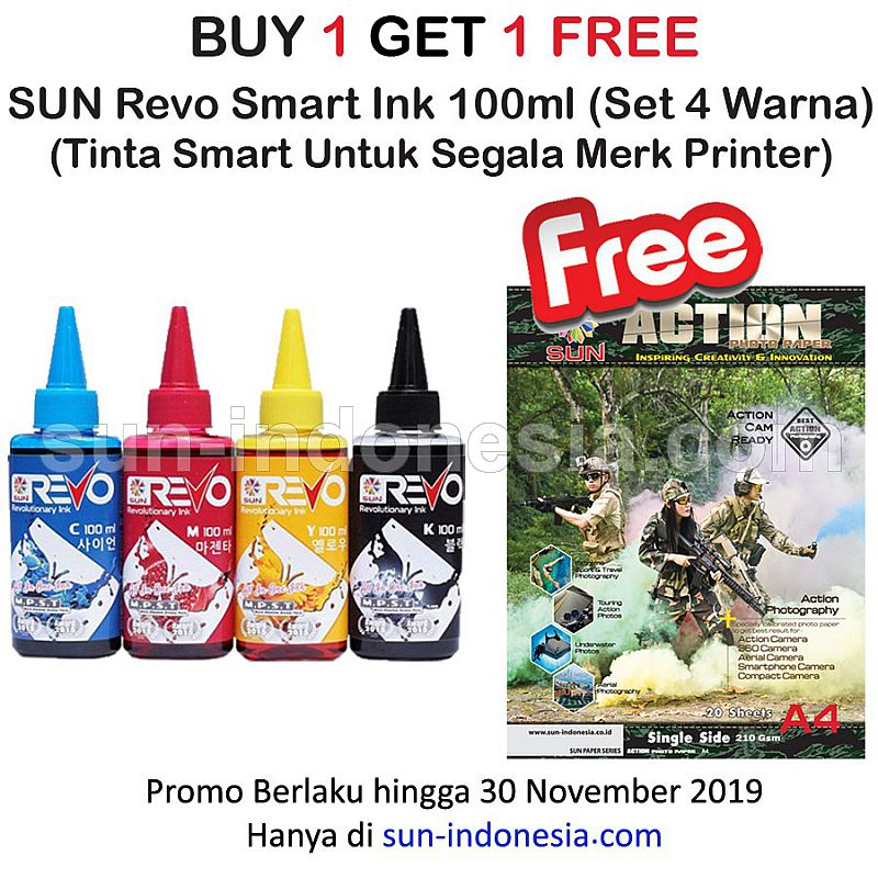 SUN REVO INK 1 Set 100 ML ( Free Action Photo Paper A4 )