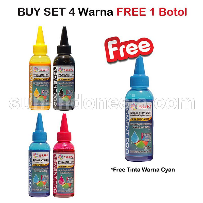 PIGMENT PRO INK 100 ML (1 SET 4 WARNA) Free CYAN