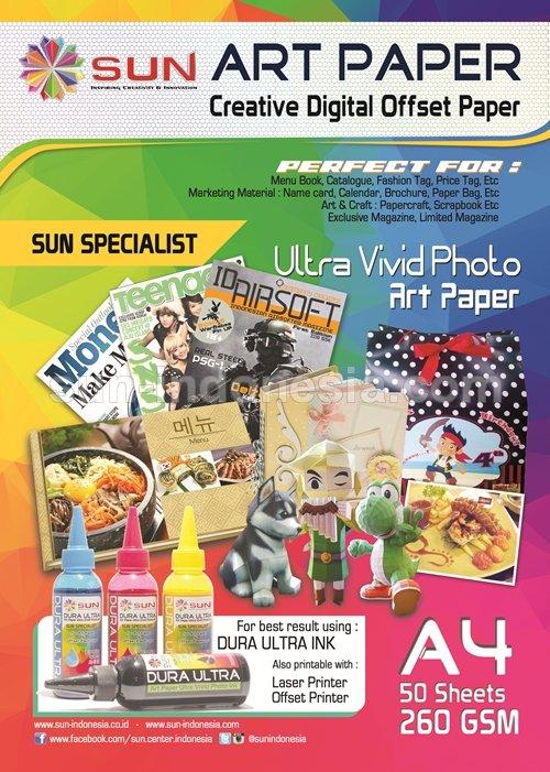 All Product SUN » SUN ART PAPER 260 GSM A4 (50 Lembar) • www.sun -indonesia.com