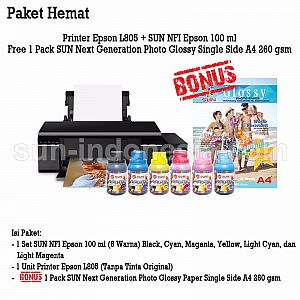 PRINTER EPSON L805 TINTA SUN NFI PREMIUM 100 ML BONUS NG GLOSSY PHOTO PAPER A4 260 GSM