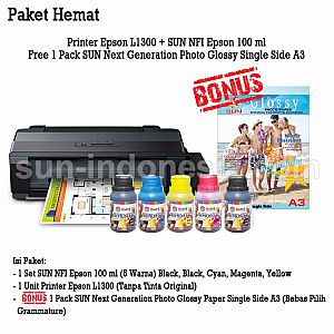 PRINTER EPSON L1300 TINTA SUN NFI PREMIUM 100 ML BONUS NG GLOSSY PHOTO PAPER A4 260 GSM