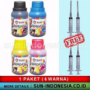 SUN PREMIUM INK NEW FORMULA IMPROVED 100 ml (Epson) (1 set 4 colour) FREE ONGKOS KIRIM