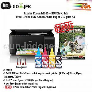 PRINTER EPSON L3150 TINTA SUN REVO 100 ML BONUS NG ACTION PHOTO PAPER