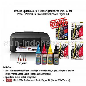 PRINTER EPSON L1110 TINTA SUN PIGMENT PRO 100 ML BONUS PROFESSIONAL PHOTO PAPER A4